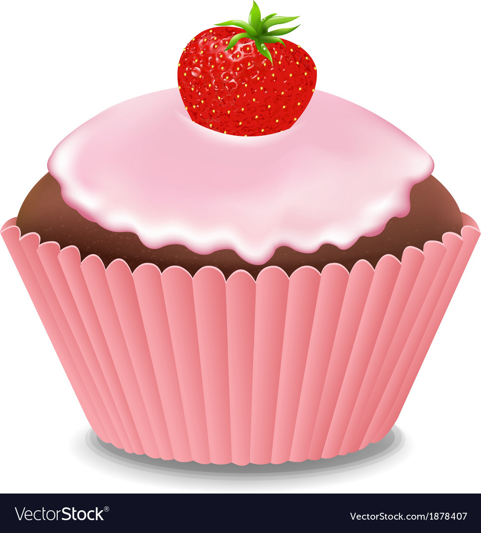 Cupcake with cream and strawberry vector | Price: 1 Credit (USD $1)