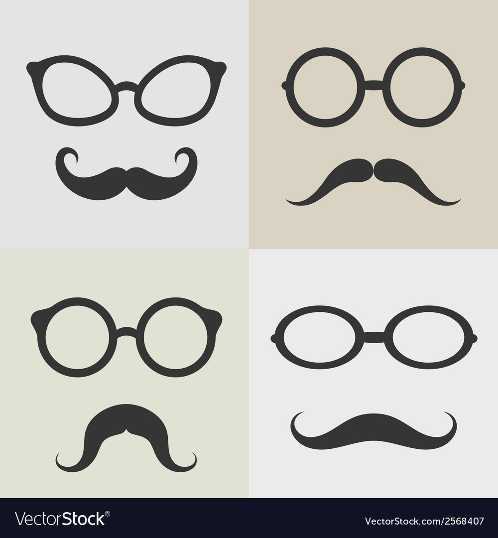 Images of glasses and mustaches vector | Price: 1 Credit (USD $1)