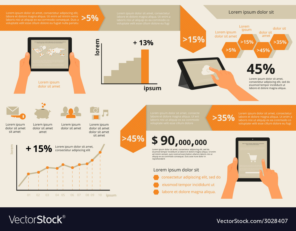 Infographic visualization of usability tablet pc vector | Price: 1 Credit (USD $1)
