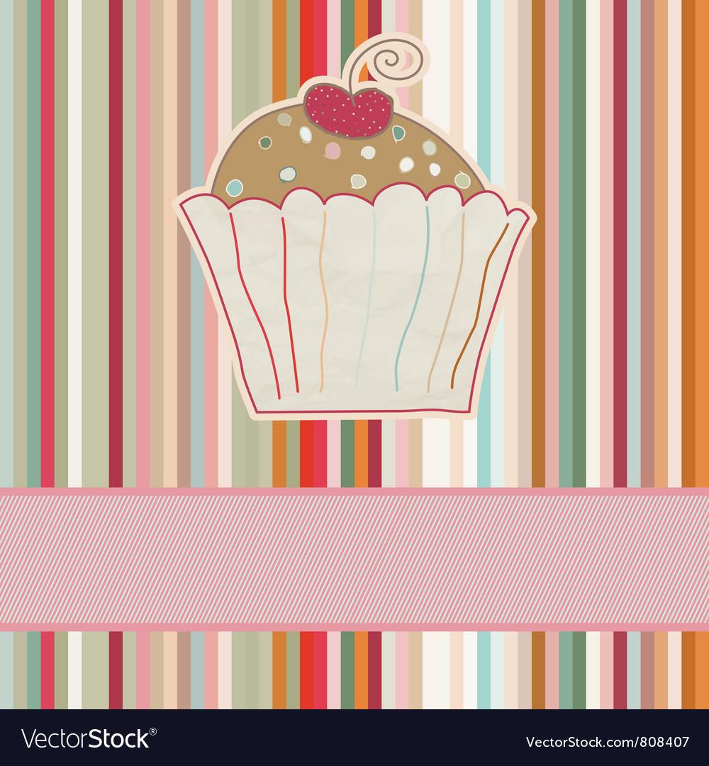 Retro cupcake card vector   Price: 1 Credit (USD $1)