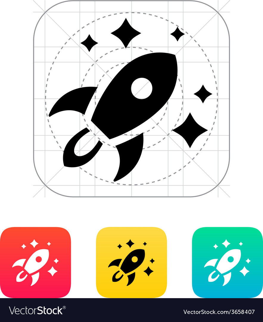 Rocket in space icon on white background vector | Price: 1 Credit (USD $1)