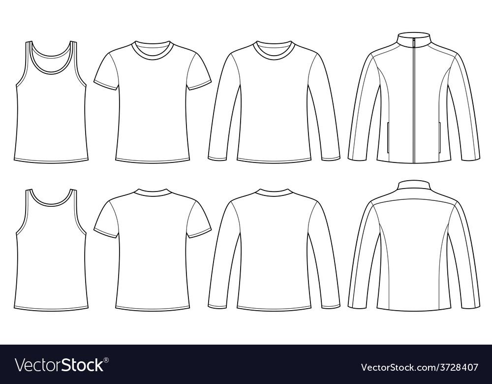 Singlet t-shirt long-sleeved t-shirt and jacket vector