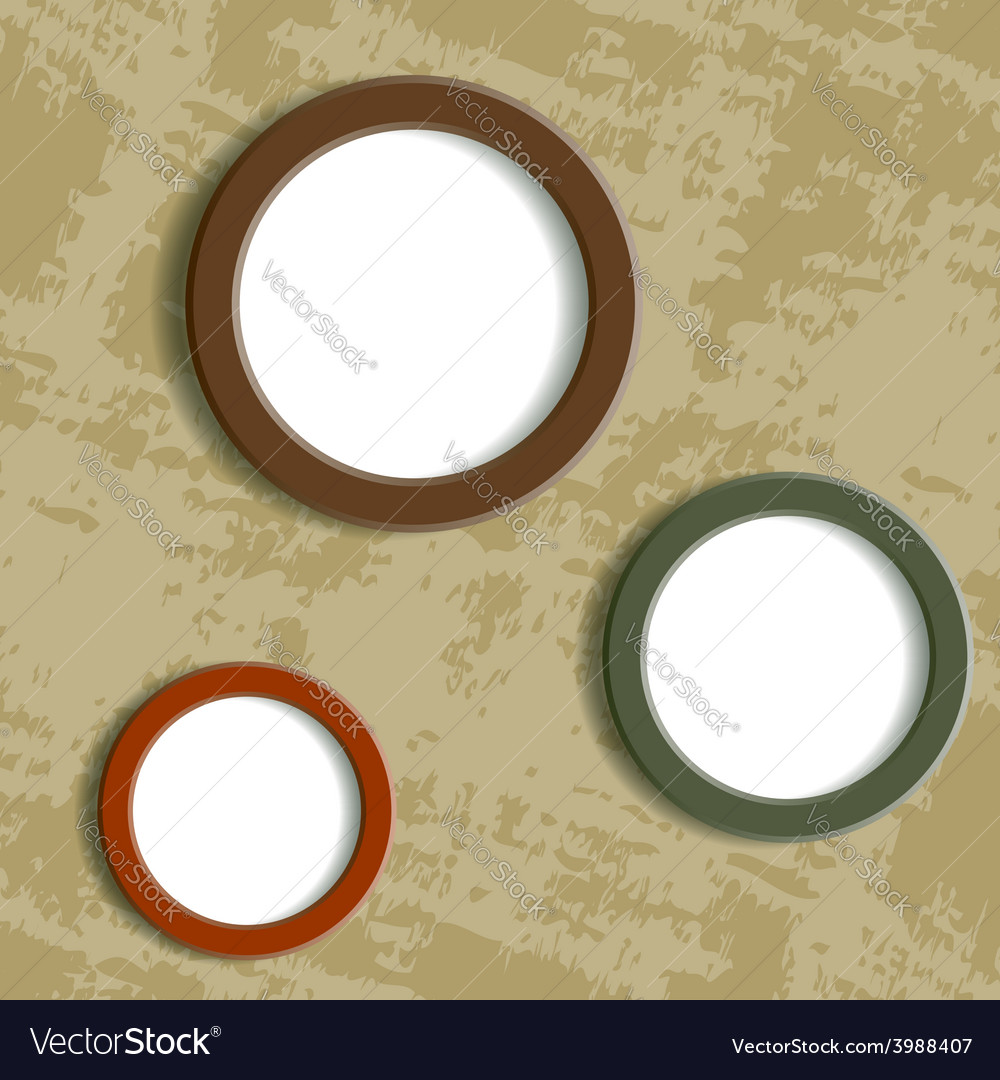 Three round frame on grungy background vector | Price: 1 Credit (USD $1)