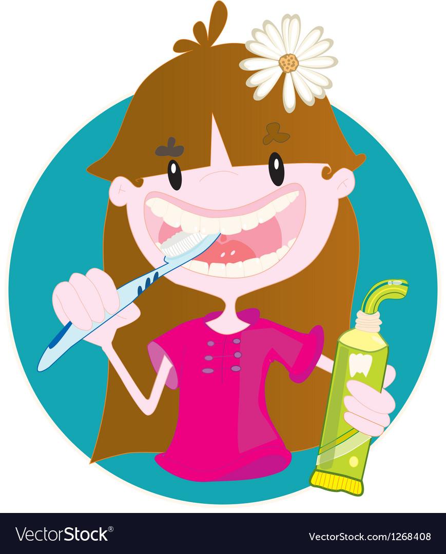 Cute girl washing teeth vector | Price: 1 Credit (USD $1)