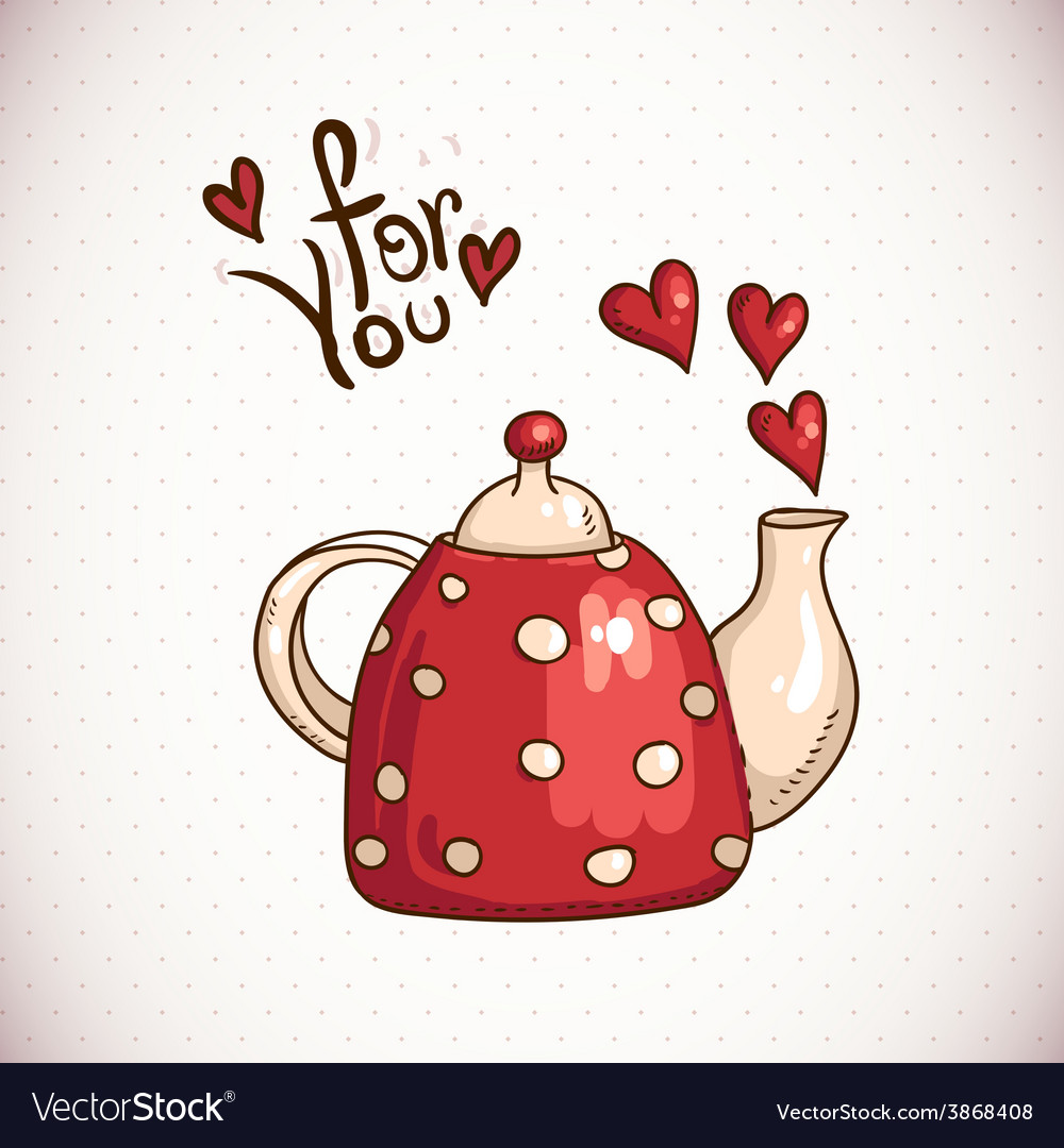 Doodle greeting card with red teapot and hearts vector | Price: 1 Credit (USD $1)