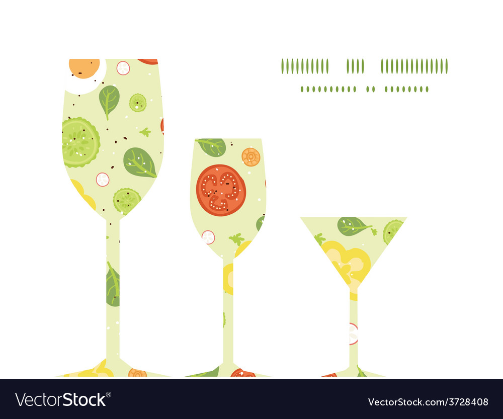 Fresh salad three wine glasses silhouettes vector | Price: 1 Credit (USD $1)