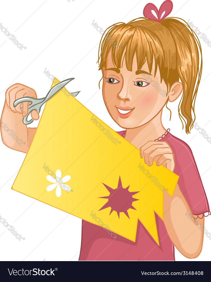 Girl is cutting color paper with scissors vector | Price: 1 Credit (USD $1)