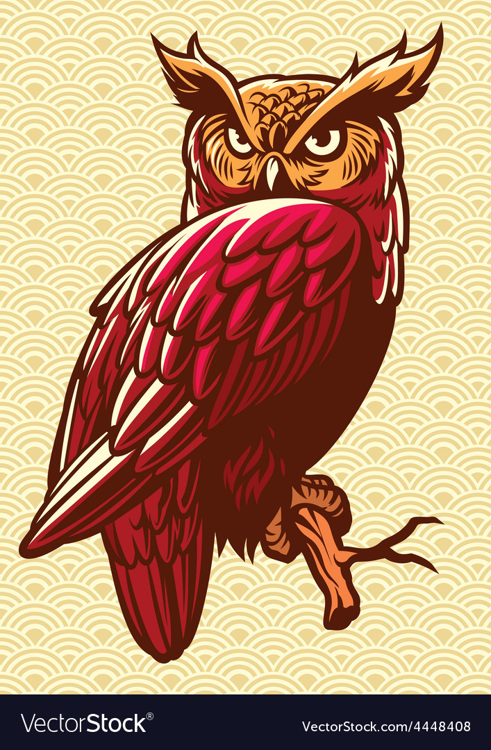 Owl stand on the tree branch vector | Price: 3 Credit (USD $3)