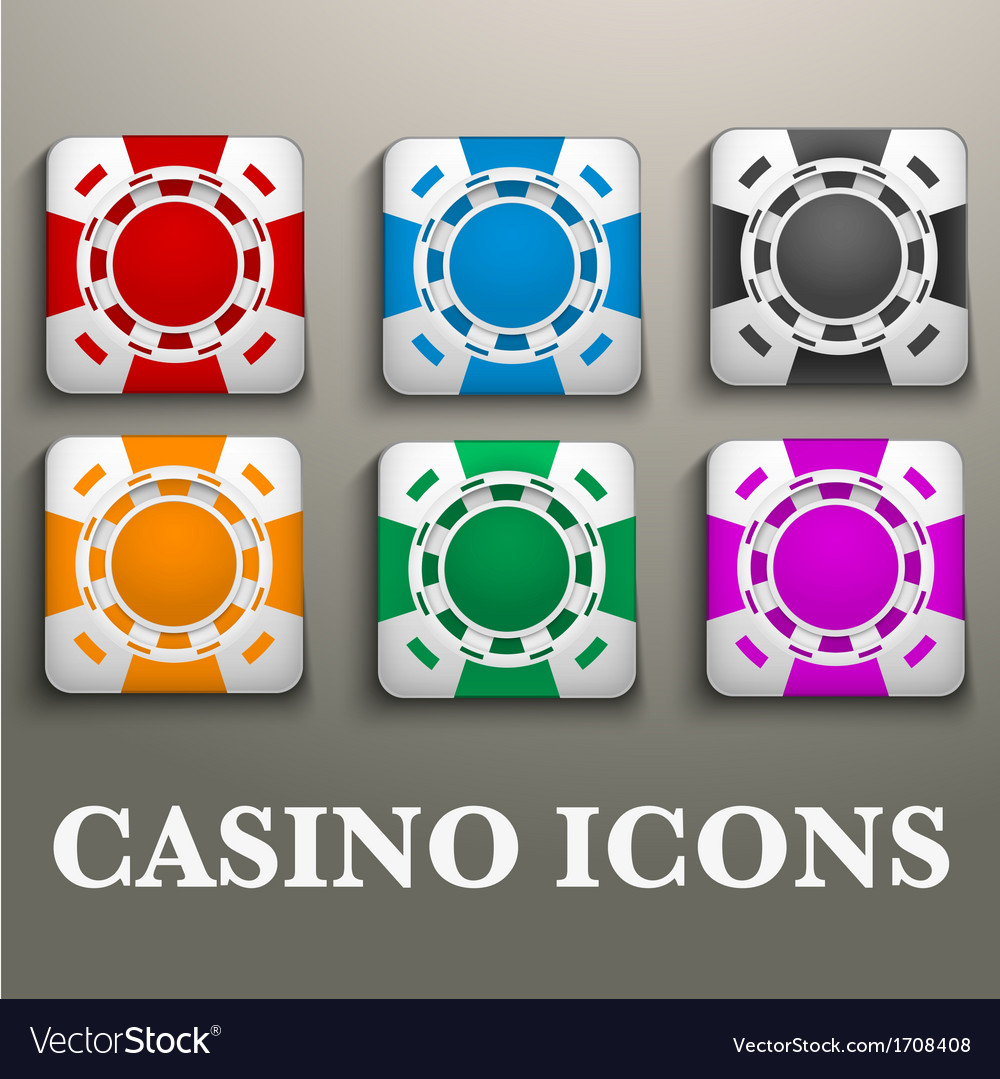 Square icons multicolor casino chips vector | Price: 1 Credit (USD $1)