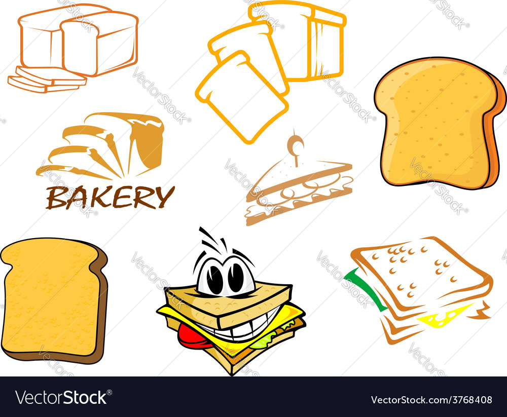 Toasts and bread icons vector | Price: 1 Credit (USD $1)