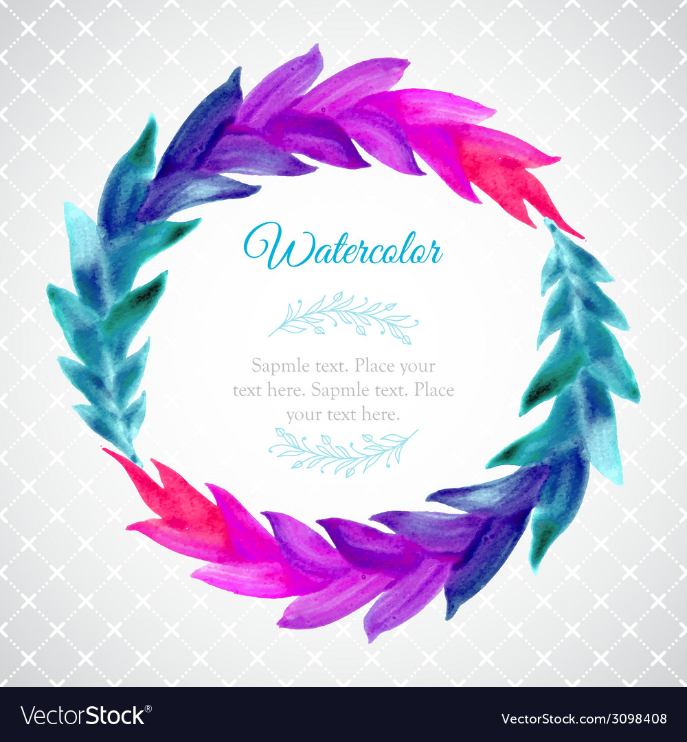 Watercolor template with wreath of colorful leaves vector | Price: 1 Credit (USD $1)