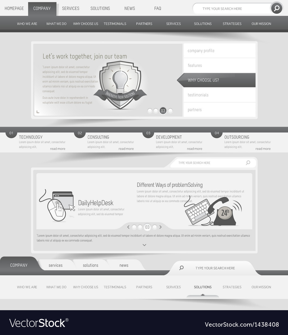 Web site template navigation elements vector | Price: 1 Credit (USD $1)