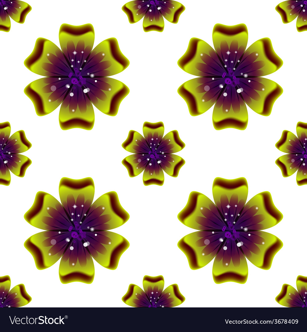 Beautiful green flower seamless floral pattern vector | Price: 1 Credit (USD $1)
