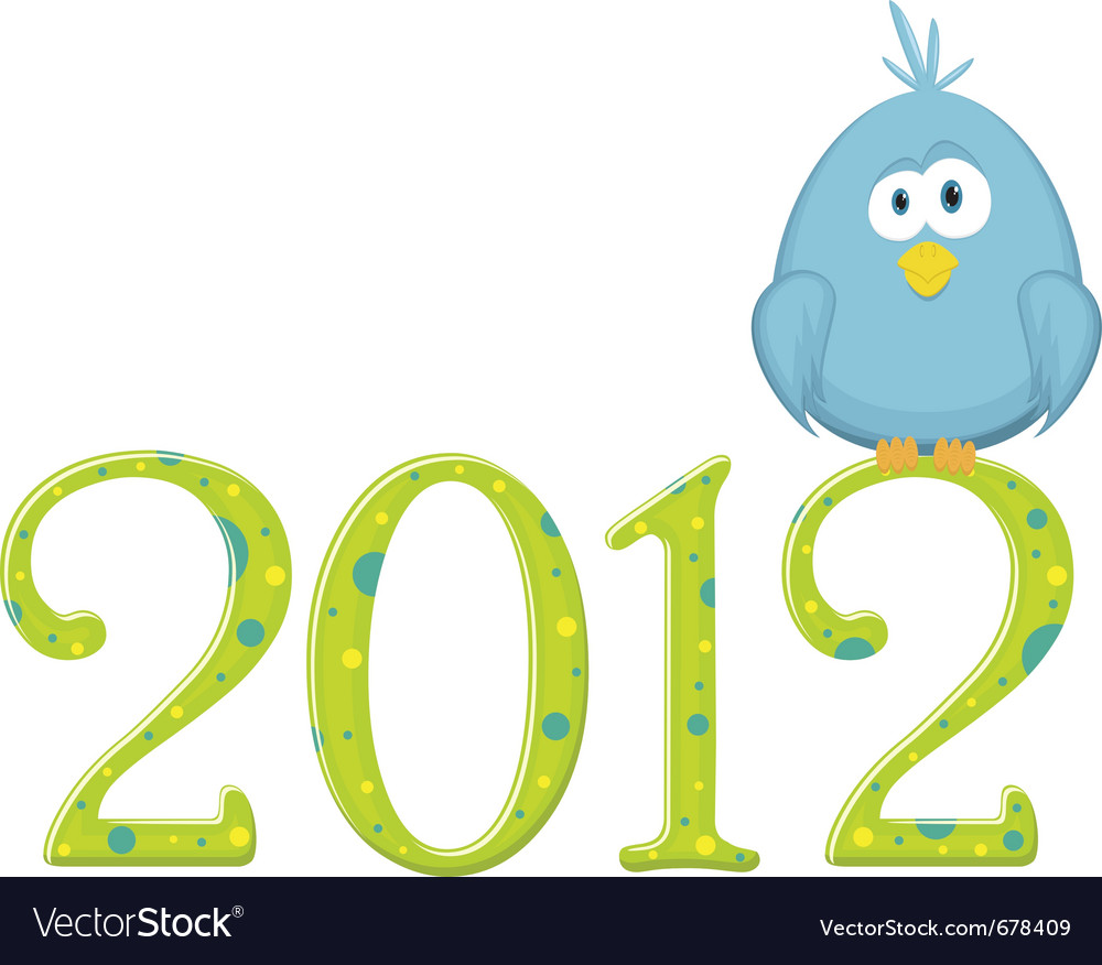 Blue bird on the digits 2012 vector | Price: 1 Credit (USD $1)