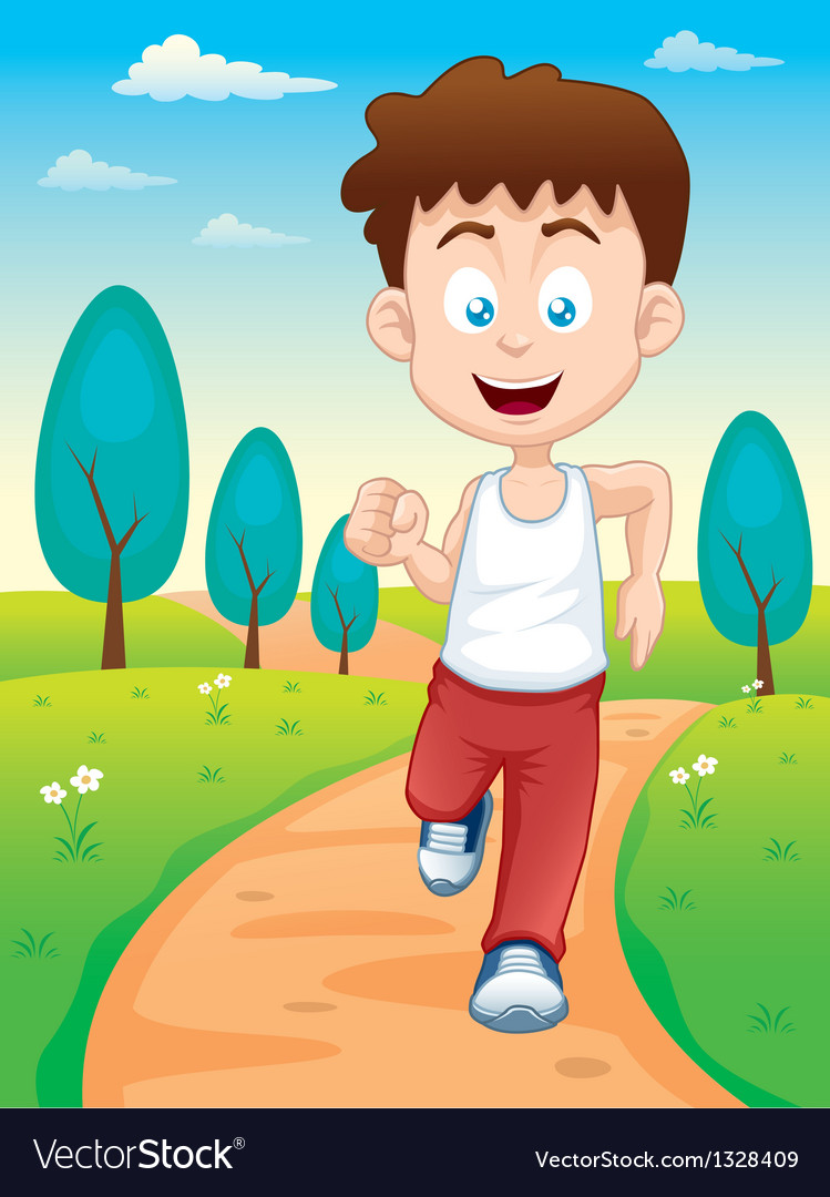 Boy jogging in park vector | Price: 1 Credit (USD $1)