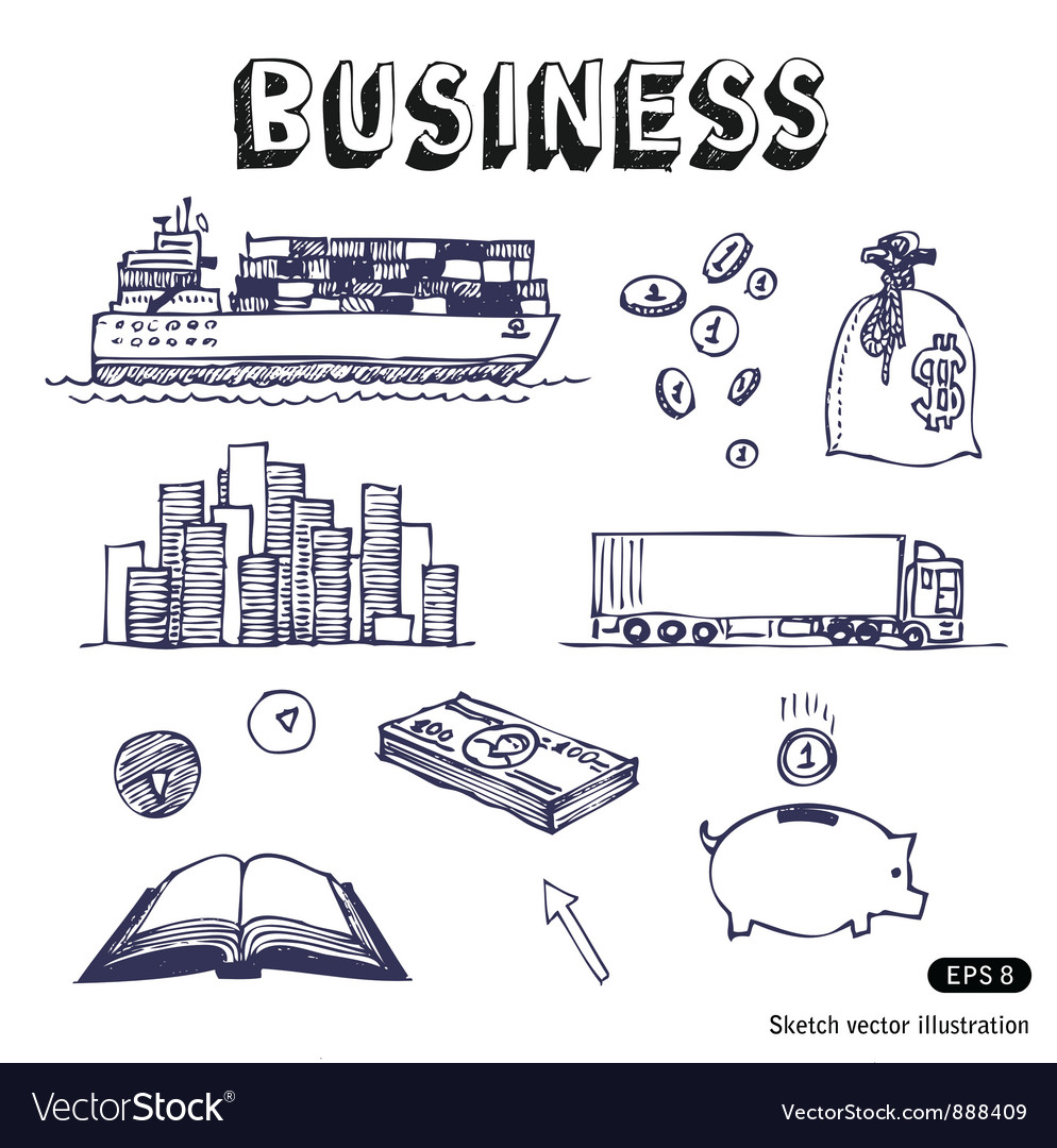 Business finance and transportation icon set vector | Price: 1 Credit (USD $1)