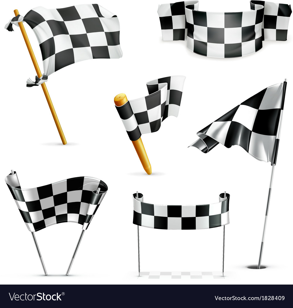 Checkered flags set vector | Price: 3 Credit (USD $3)