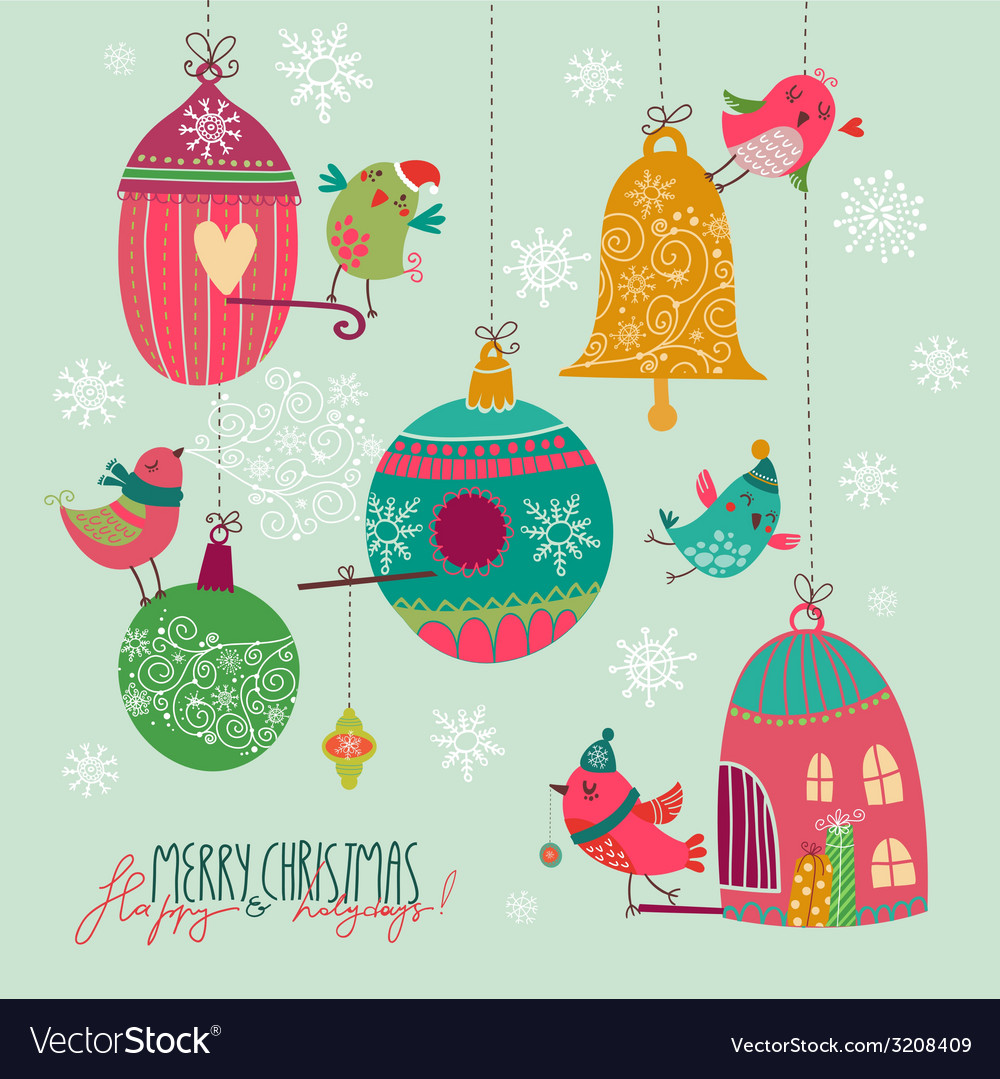 Christmas birds vector | Price: 1 Credit (USD $1)