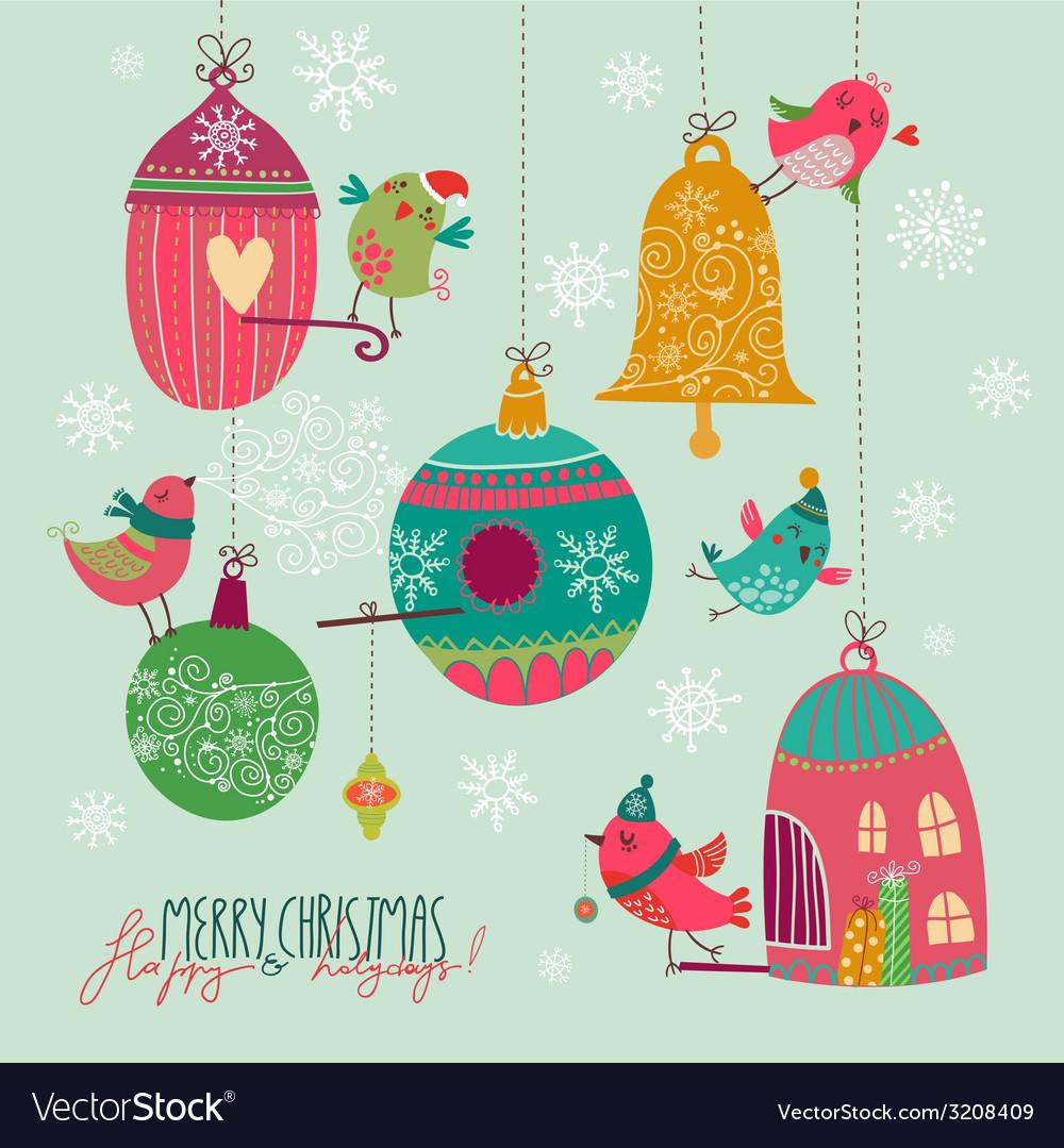 Christmas birds vector | Price: 1 Credit (USD $1)