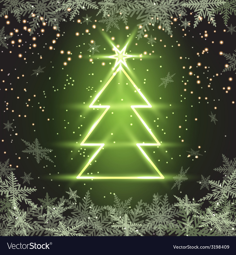 Christmas fir tree on green background vector | Price: 1 Credit (USD $1)