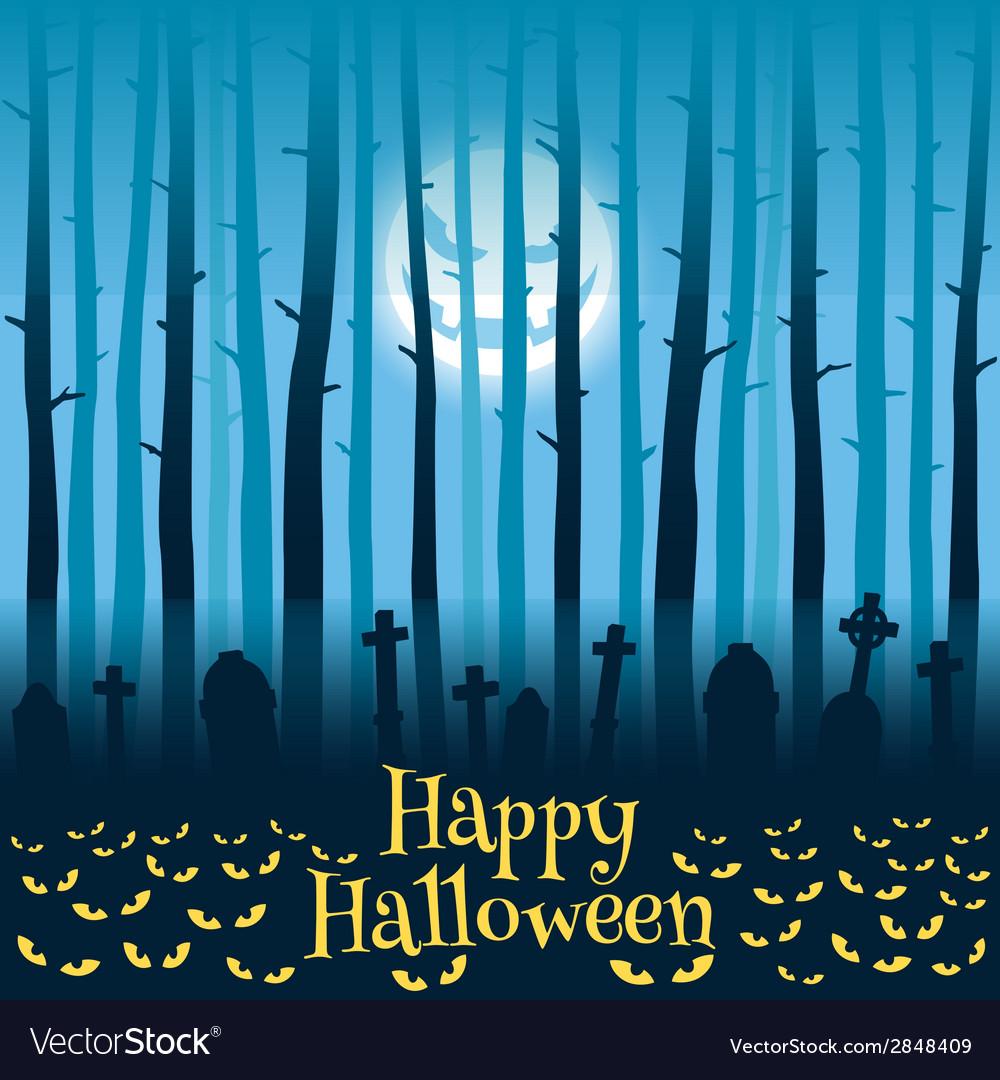 Halloween cemetery in moonlight vector | Price: 1 Credit (USD $1)