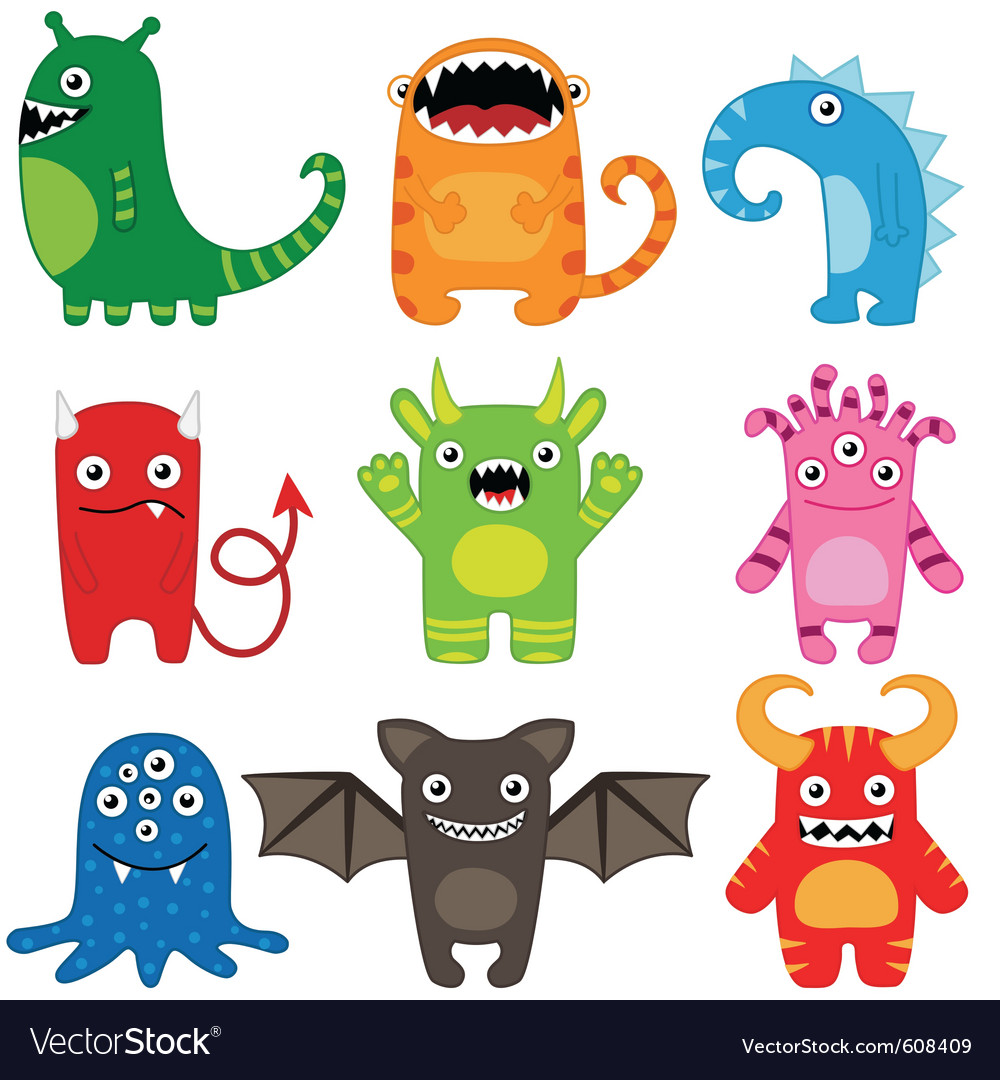 Monster set vector | Price: 1 Credit (USD $1)