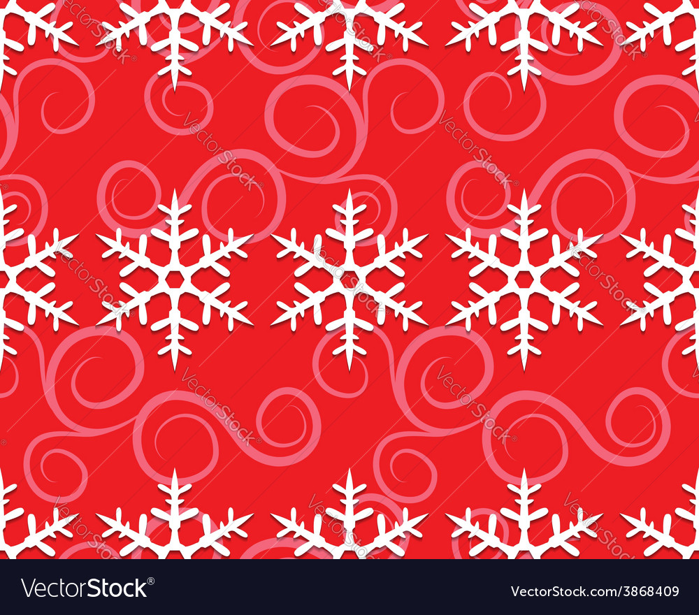 Row of snowflakes on red vector | Price: 1 Credit (USD $1)