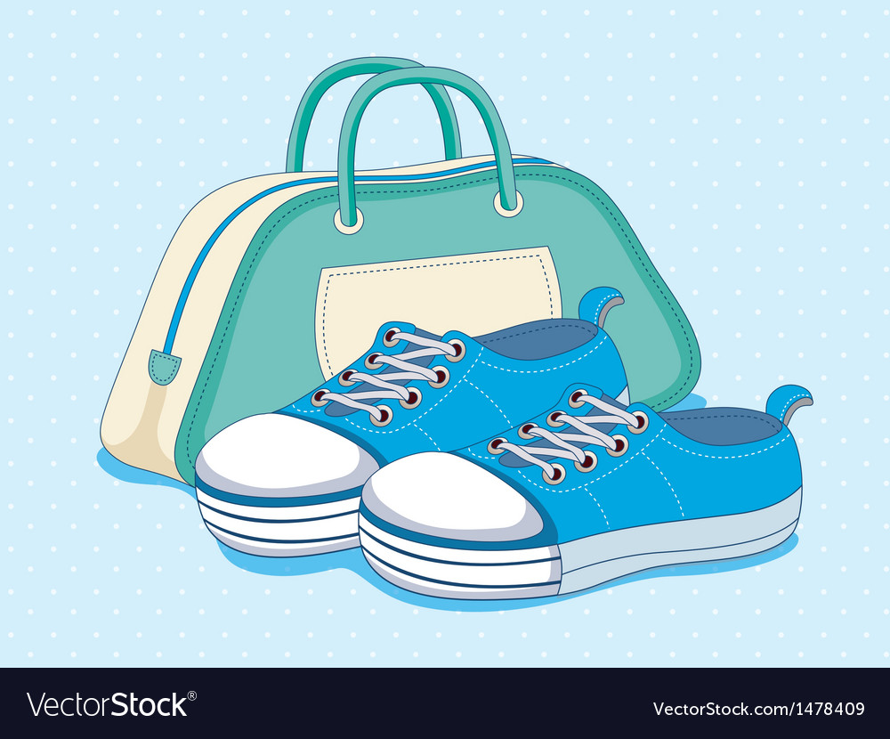 Sneakers shoes and bag vector   Price: 1 Credit (USD $1)