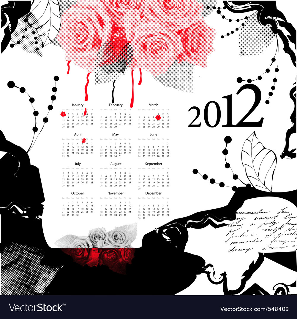 Template for calendar 2012 vector   Price: 1 Credit (USD $1)