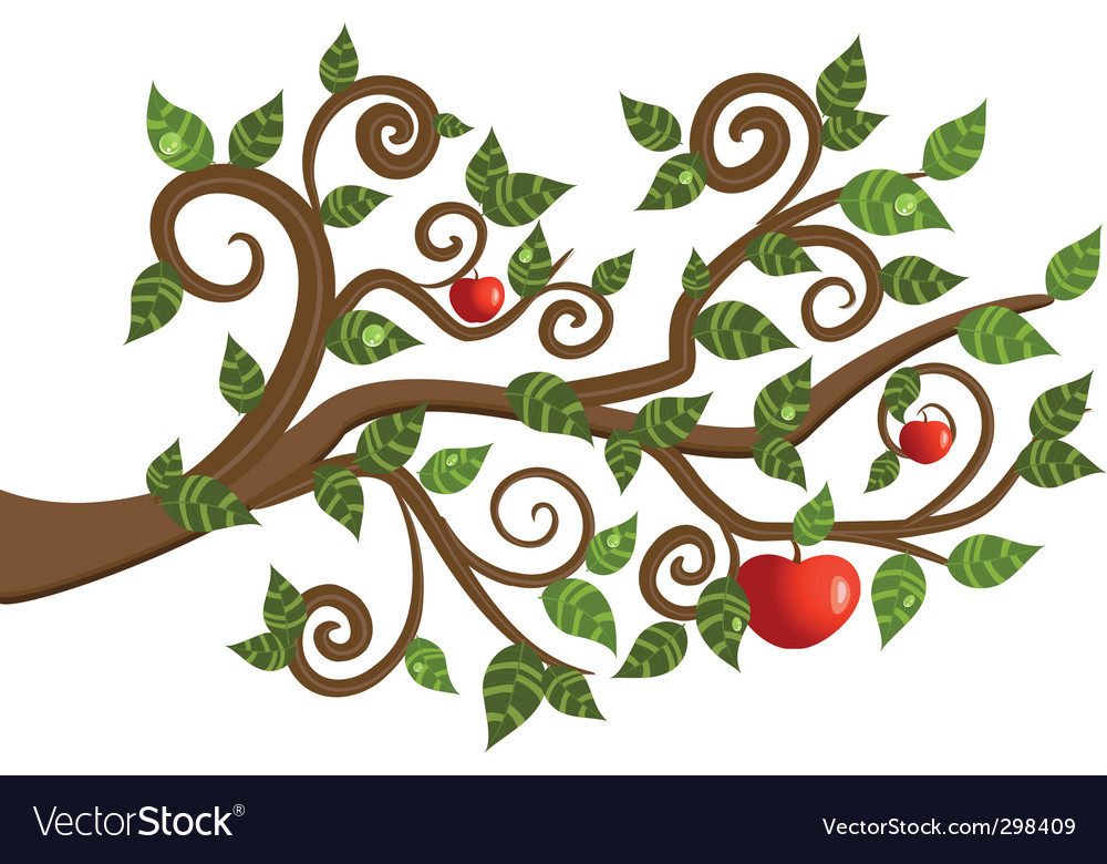 Tree branch from an apple vector | Price: 1 Credit (USD $1)