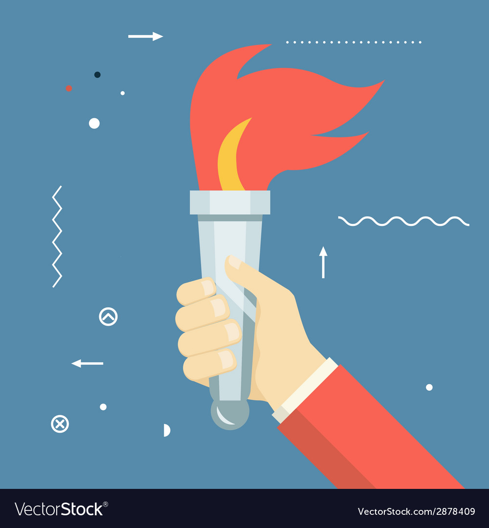 Victory flame symbol hand hold fire torch icon vector | Price: 1 Credit (USD $1)