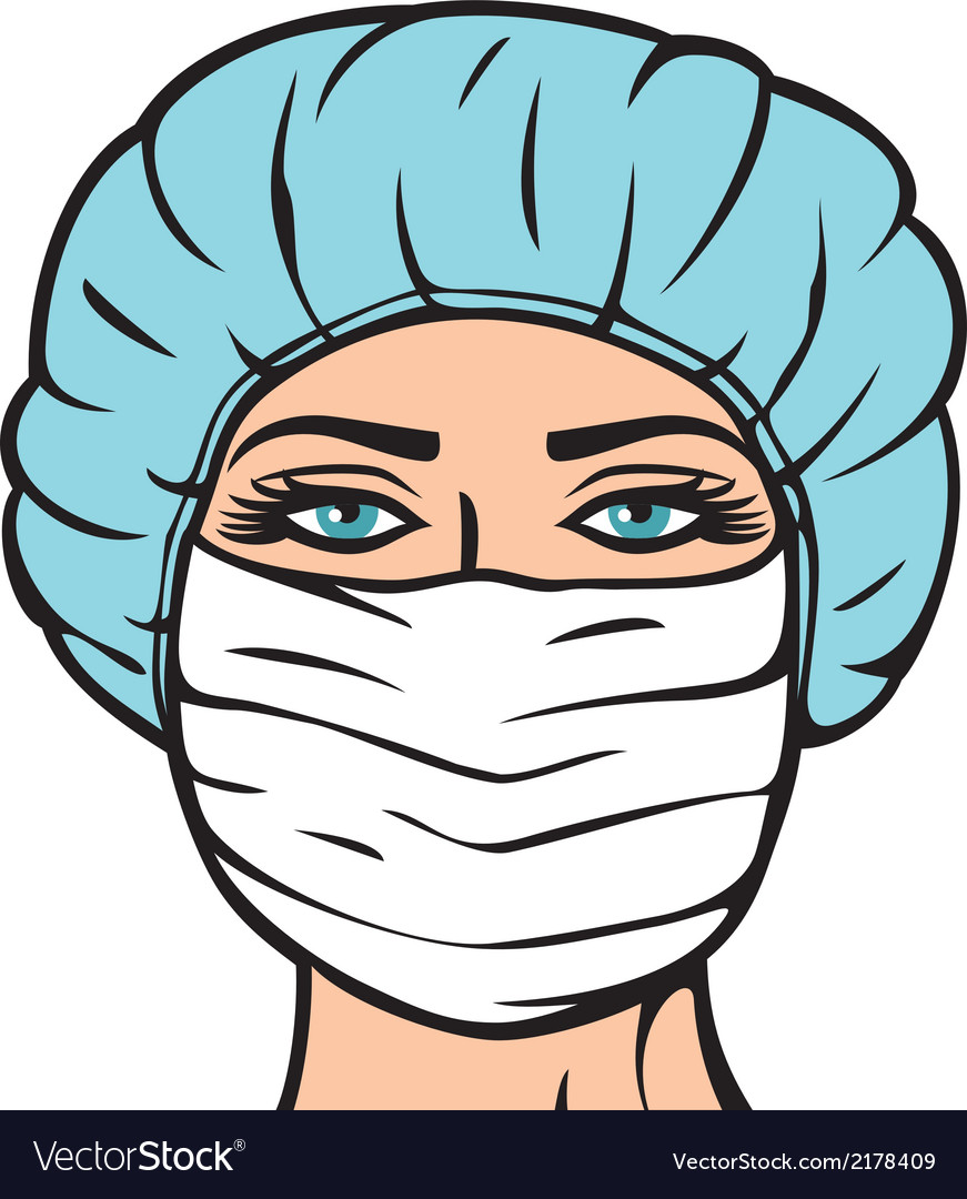 Woman doctor in surgical mask vector | Price: 1 Credit (USD $1)