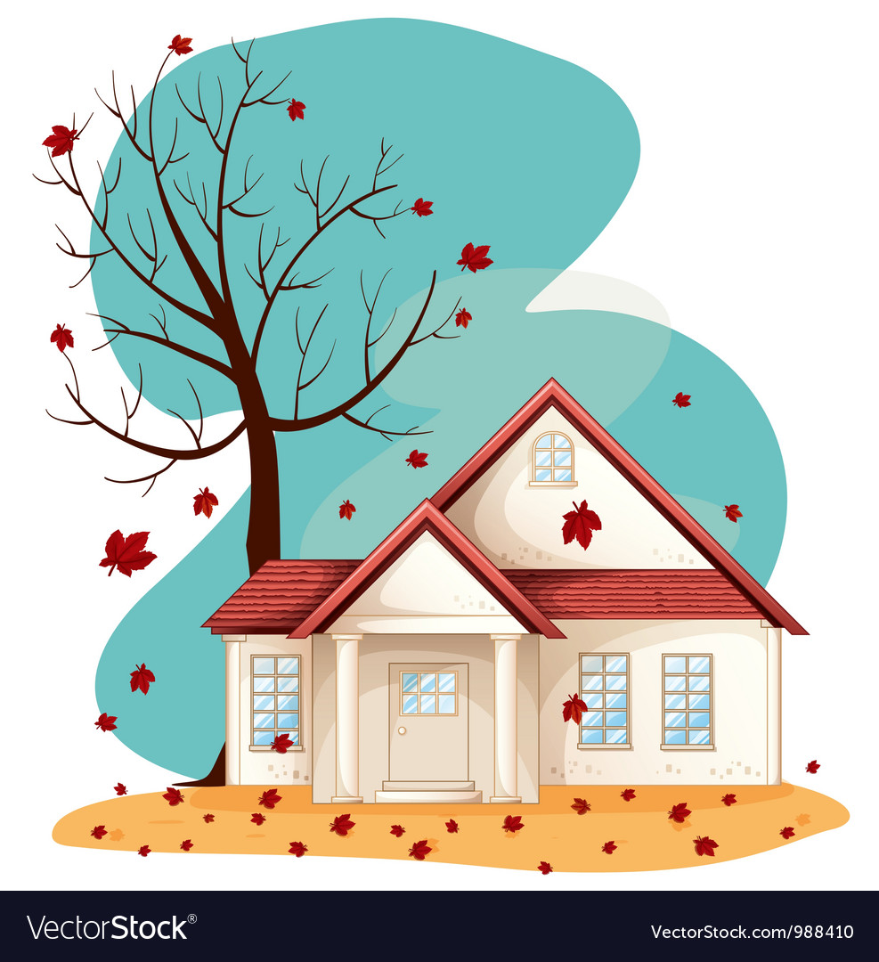 Autumn suburban house vector | Price: 3 Credit (USD $3)