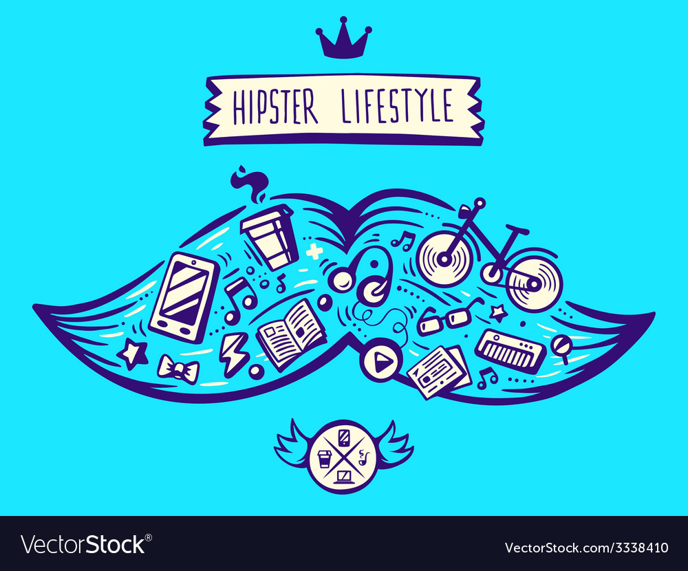 Big mustache of hipster life style with diff vector | Price: 3 Credit (USD $3)