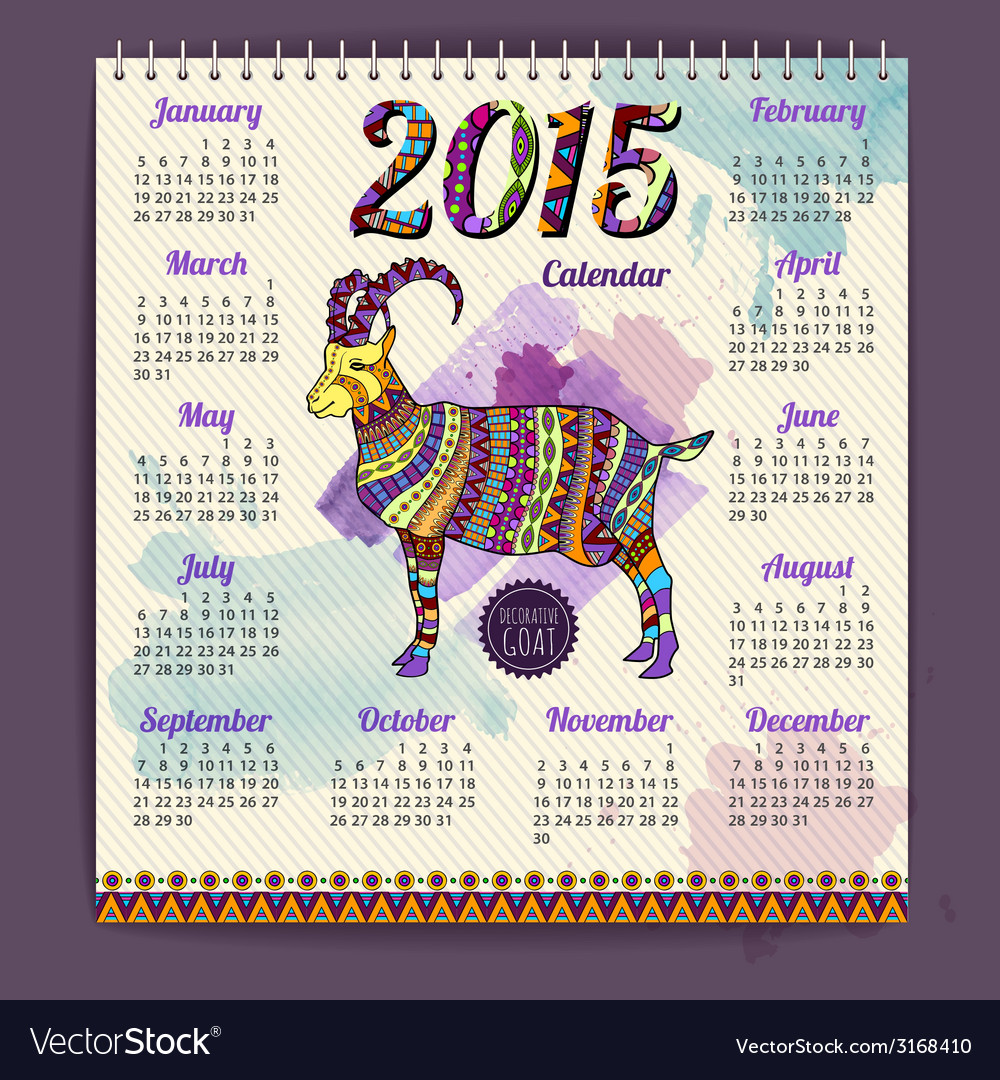 Calendar 2015 design with goat vector | Price: 1 Credit (USD $1)