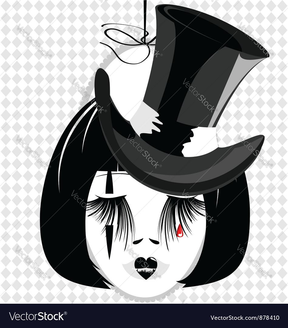 Dame in black hat vector | Price: 1 Credit (USD $1)