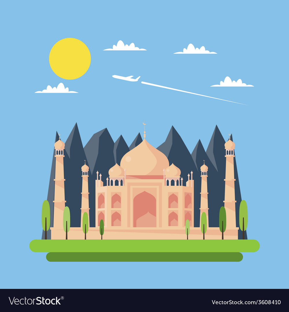Flat design of taj mahal vector | Price: 1 Credit (USD $1)