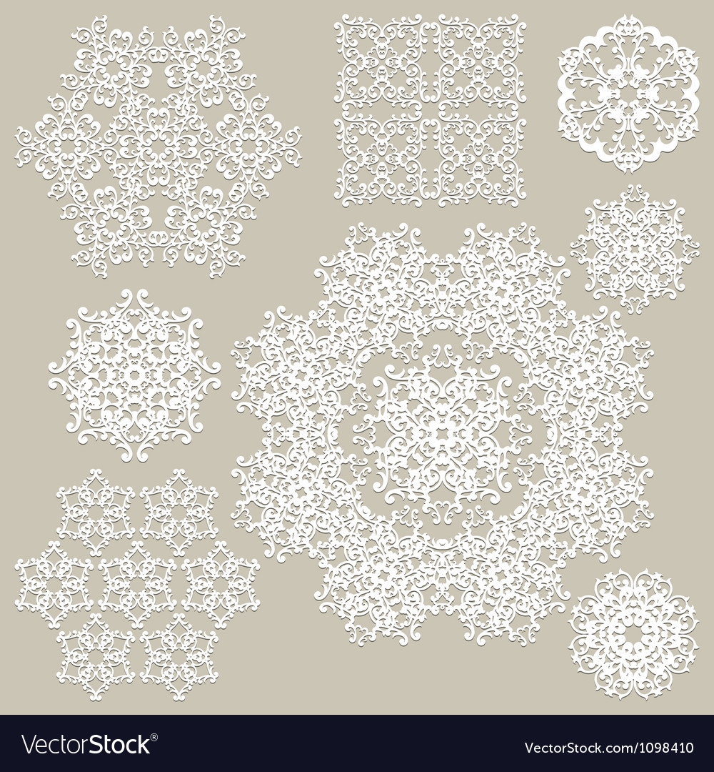 Highly detailed paper cut white snowflakes vector | Price: 1 Credit (USD $1)