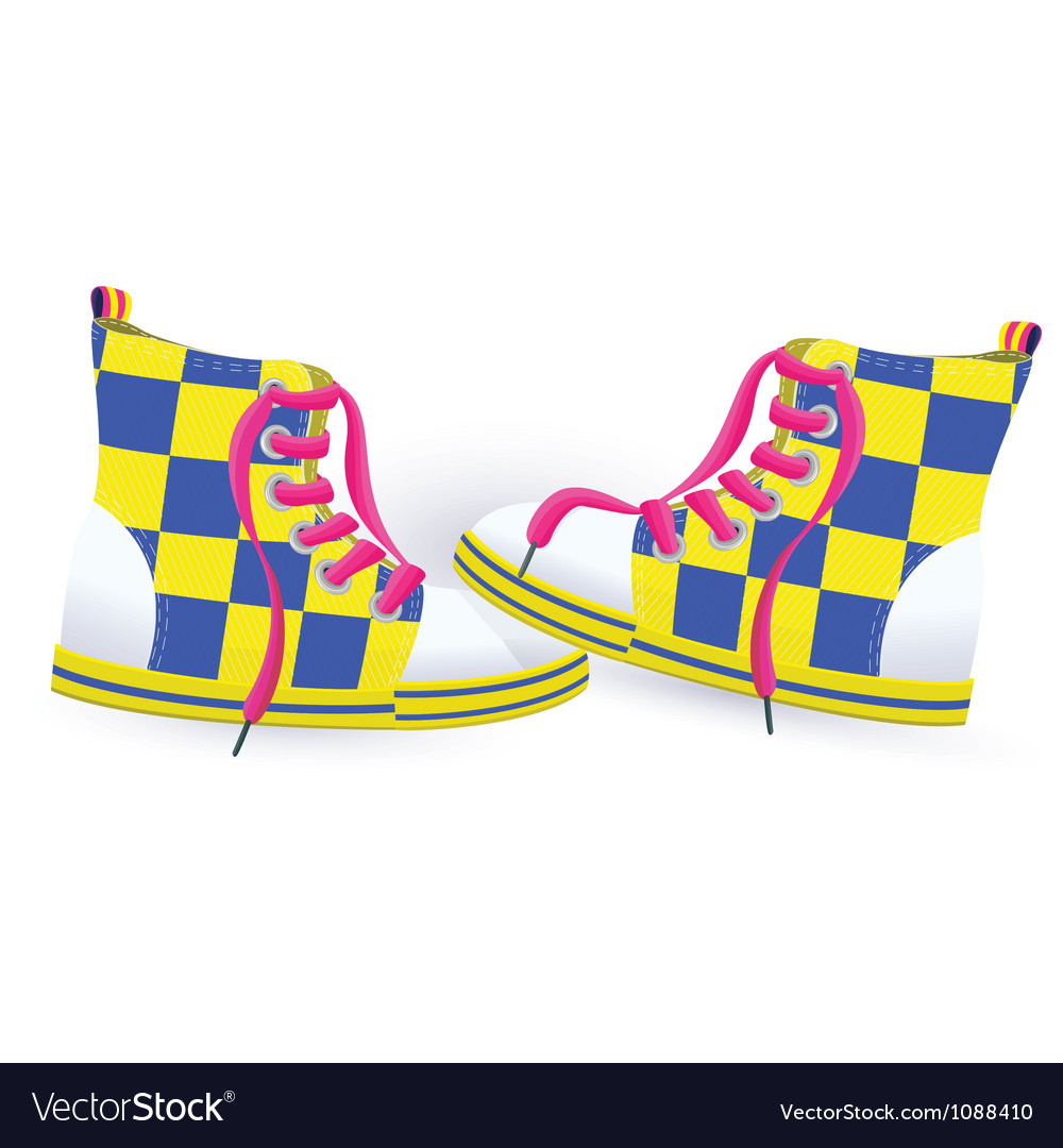 Two yellow sneakers vector | Price: 1 Credit (USD $1)