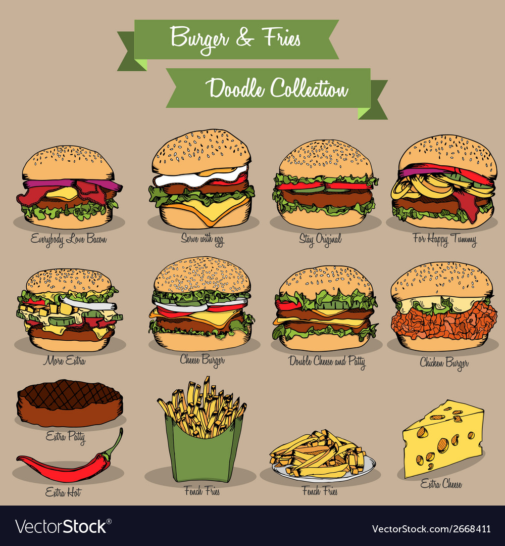 Burger and fries doodle collection vector | Price: 1 Credit (USD $1)