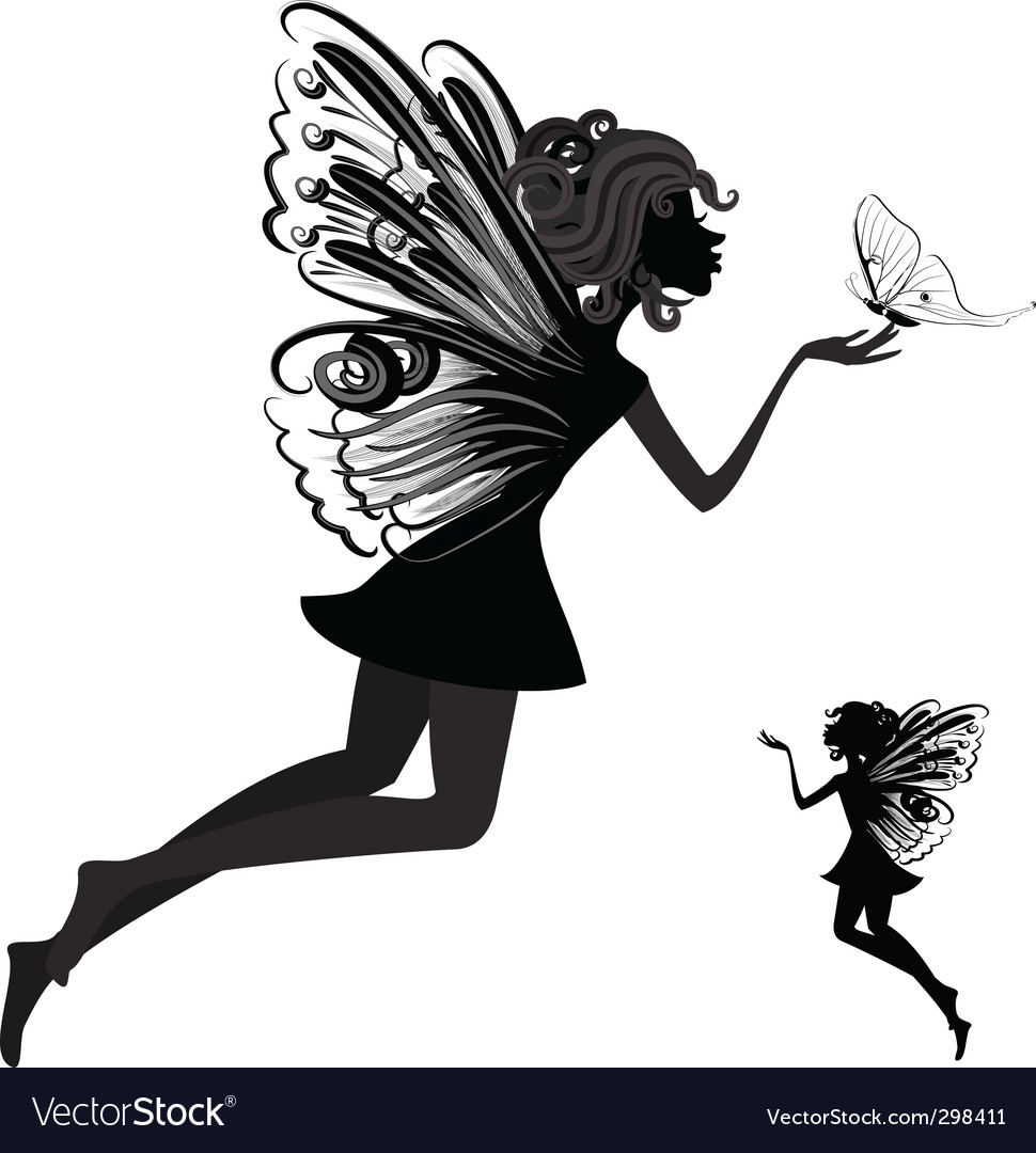 Fairy with butterfly vector | Price: 1 Credit (USD $1)