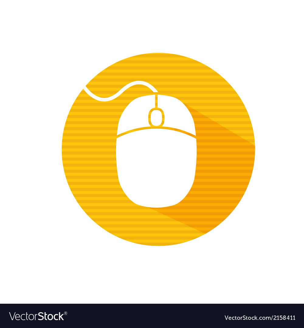 Flat long shadow icon of computer mouse vector | Price: 1 Credit (USD $1)