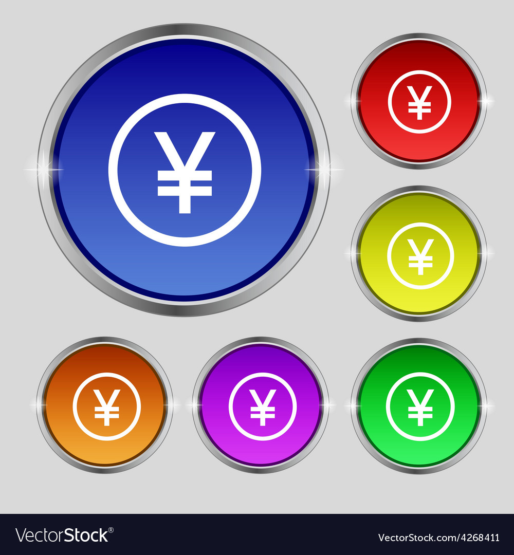 Japanese yuan icon sign round symbol on bright vector | Price: 1 Credit (USD $1)