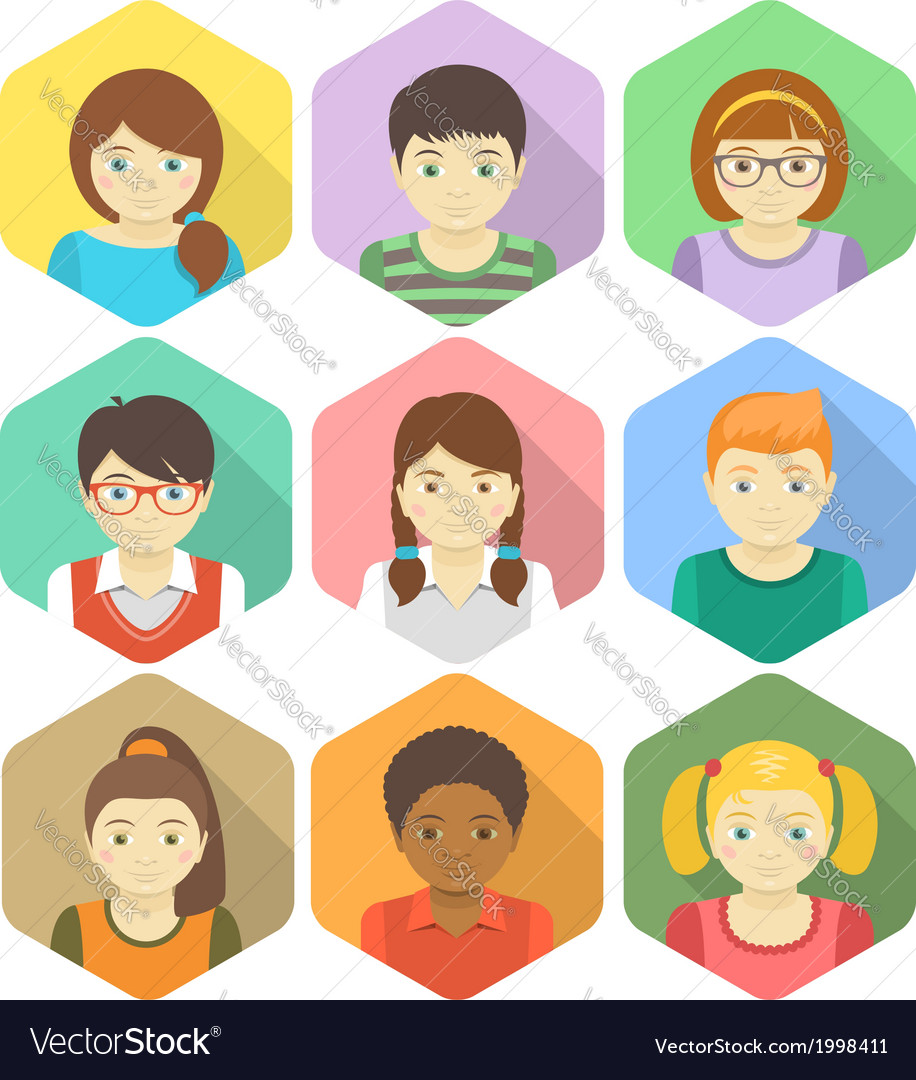Kids avatars in hexagons vector | Price: 1 Credit (USD $1)