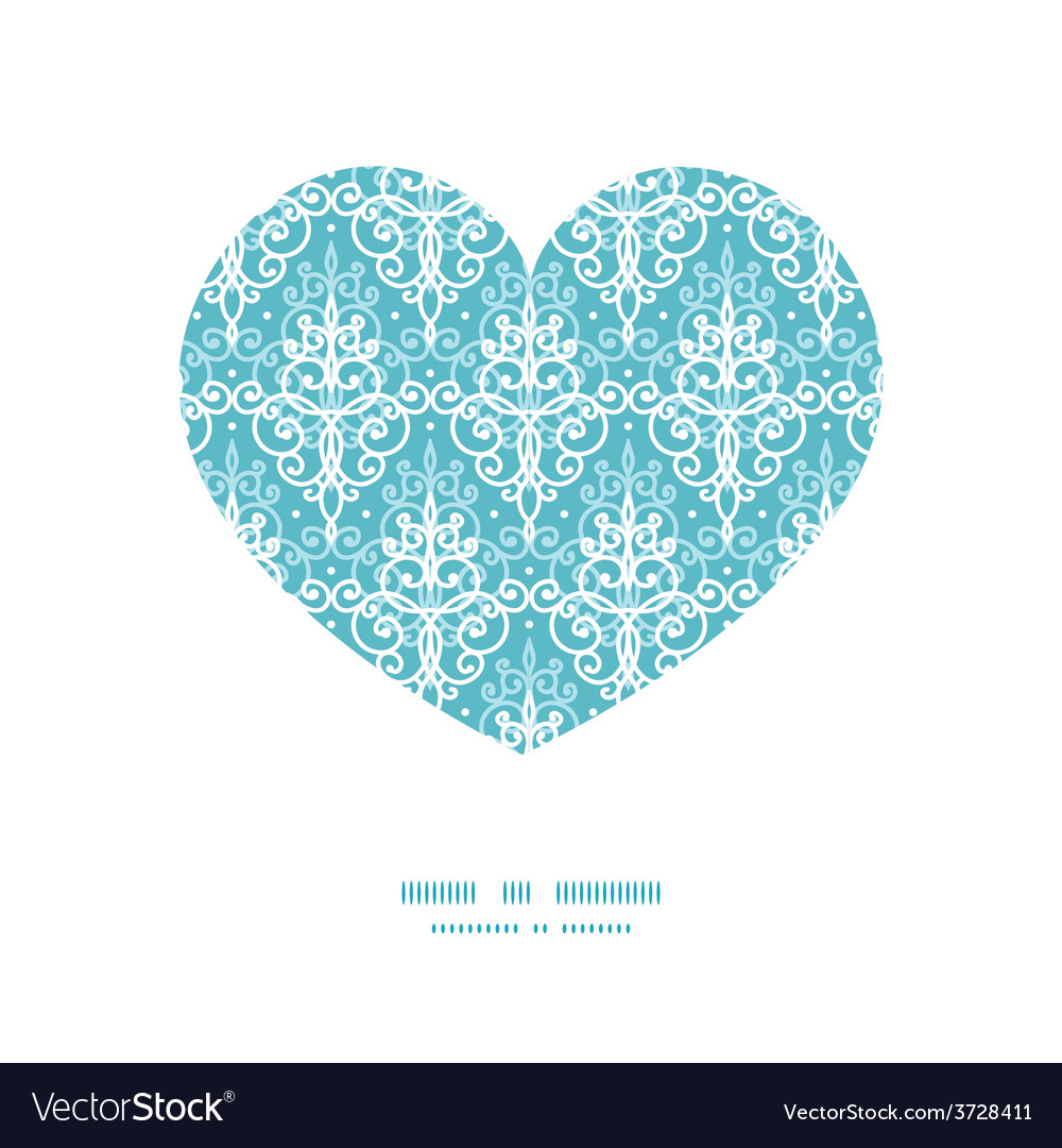 Light blue swirls damask heart silhouette vector | Price: 1 Credit (USD $1)