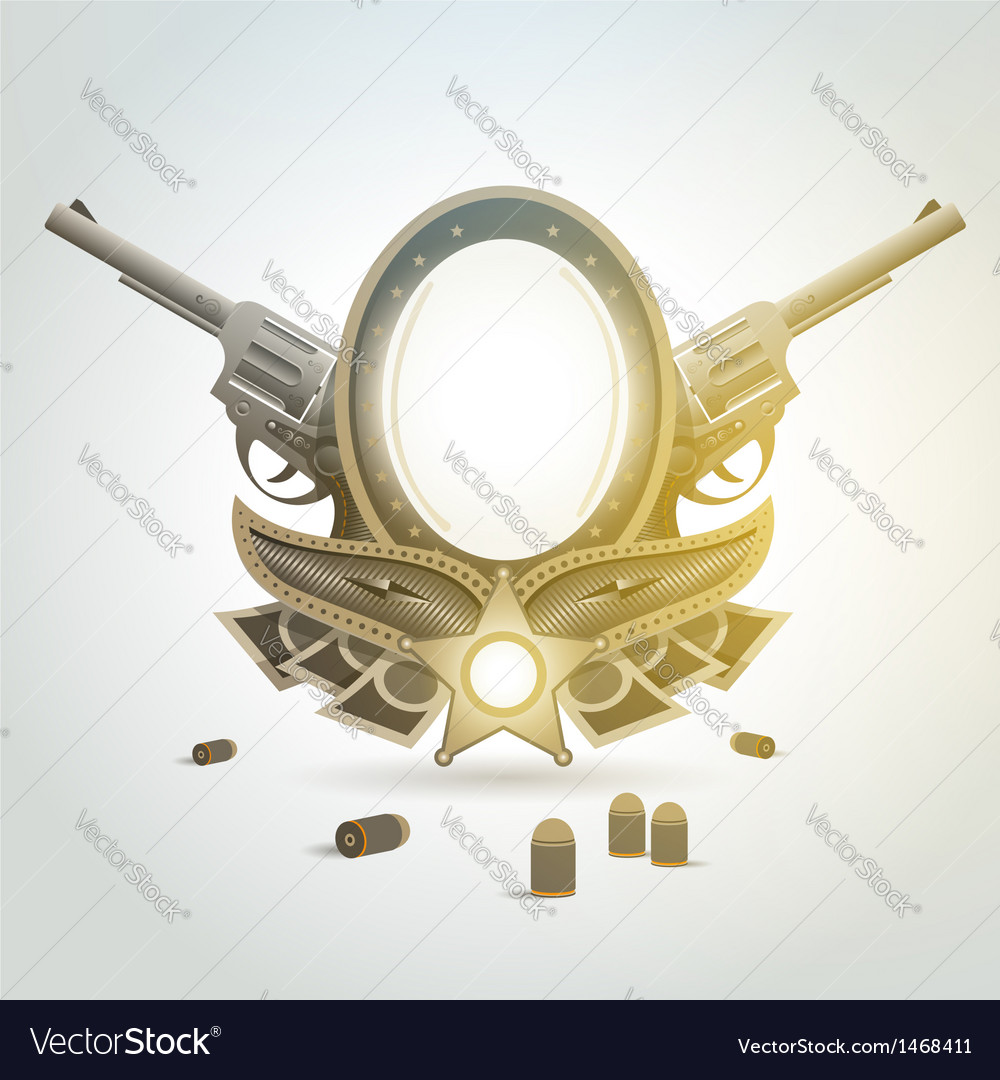 Revolver gun patron weapon sheriff element emblem vector | Price: 1 Credit (USD $1)
