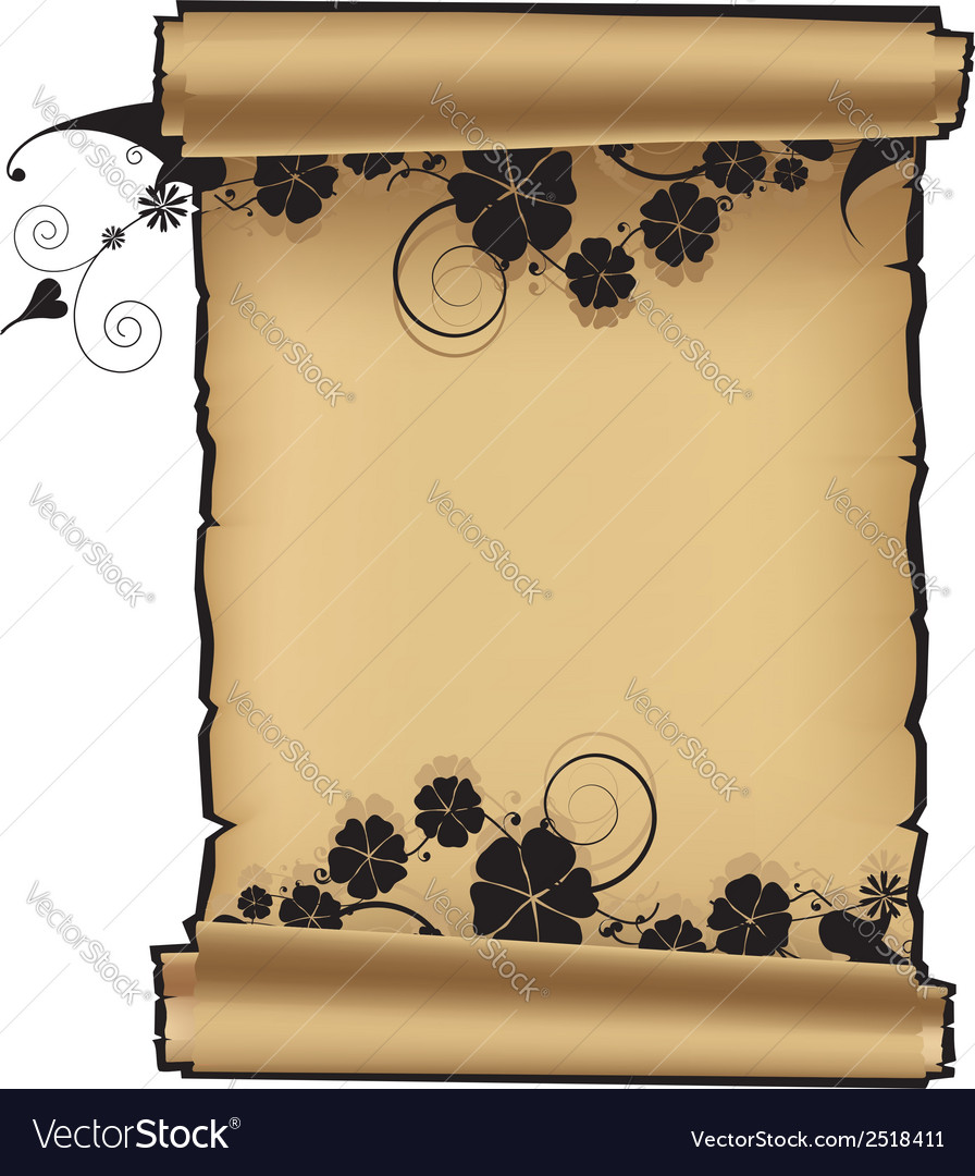 Scroll with flowers vector | Price: 1 Credit (USD $1)