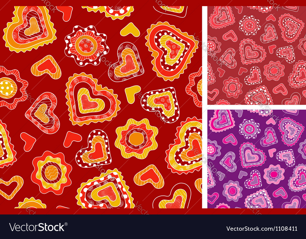 Seamless hand-drawn hearts patterns vector | Price: 1 Credit (USD $1)