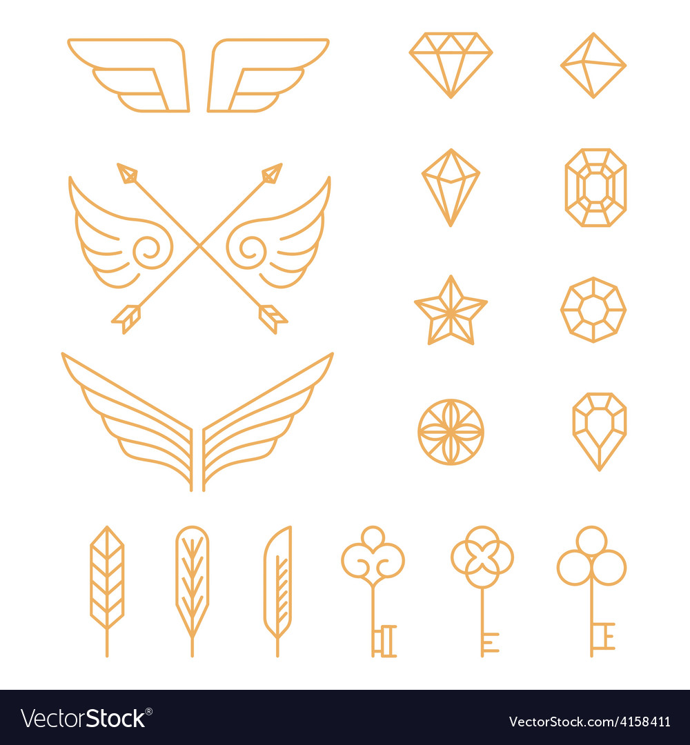 Set of outline emblems and badges vector | Price: 1 Credit (USD $1)
