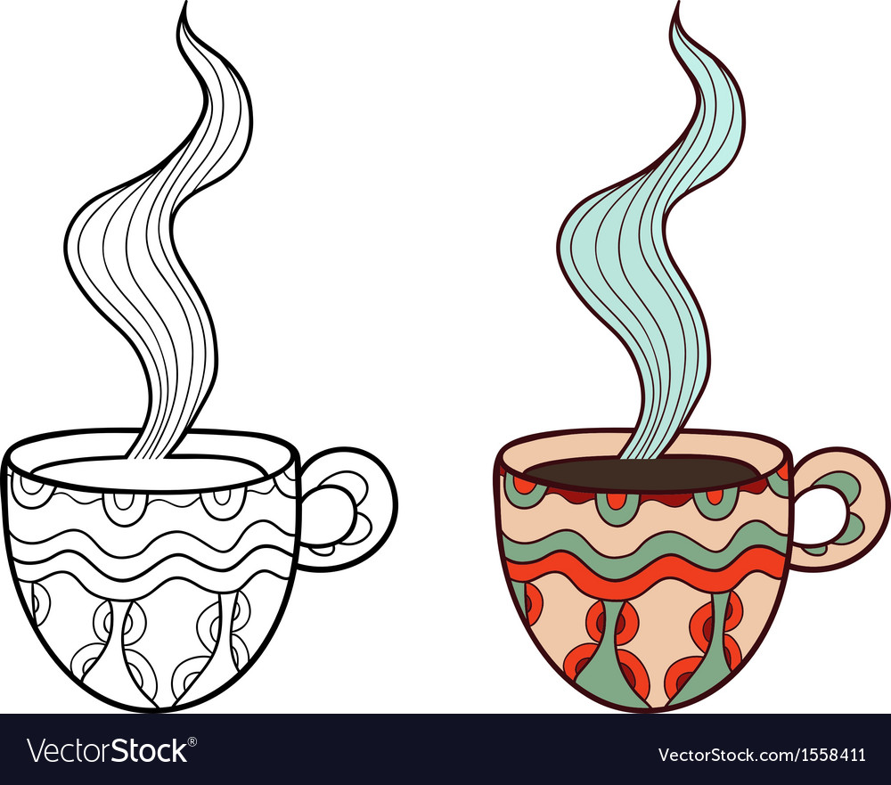 Set of two doodle coffee cups outline and subdued vector | Price: 1 Credit (USD $1)